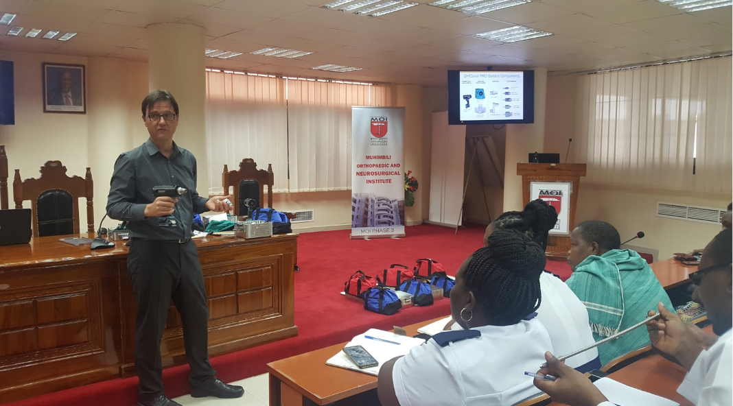 Fedja conducts a training session at Muhimbili Orthopaedic Institute in Dar es Salaam, Tanzania.