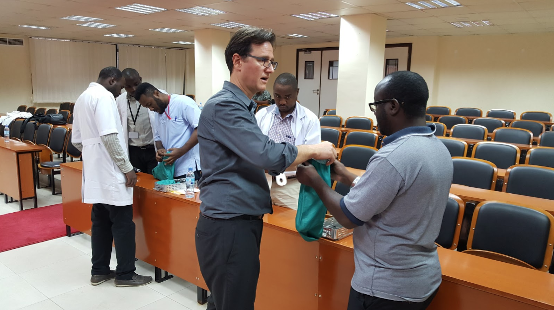Hands on training with orthopaedic surgeons and residents at Muhimbili Orthopaedic Institute in Dar es Salaam, Tanzania.